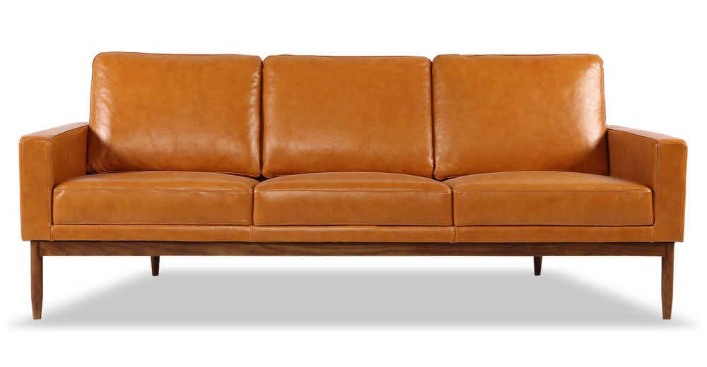 Stilt Danish Mod Sofa, Tan Aniline Leather/Walnut