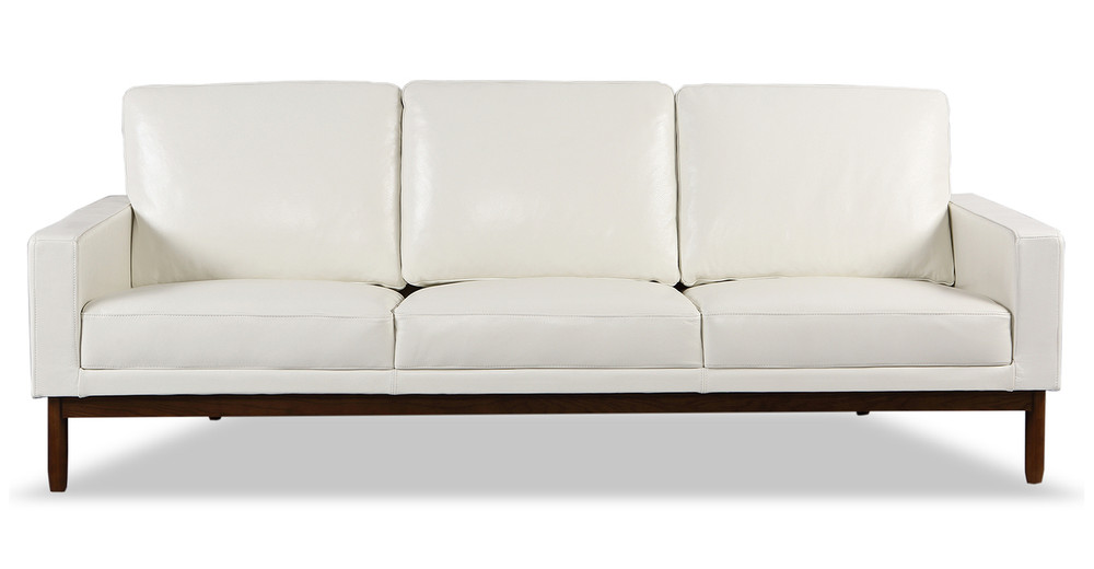 Stilt Danish Mod Sofa, White Aniline Leather/Walnut