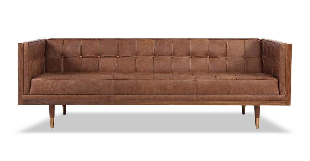 Woodrow Box Sofa, Walnut/Vintage Brown Distressed Leather