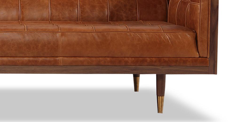 ... Woodrow Box Sofa, Walnut/Manitou Distressed Leather ...