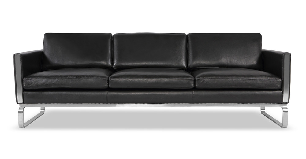 Amsterdam Sofa, Black Aniline Leather