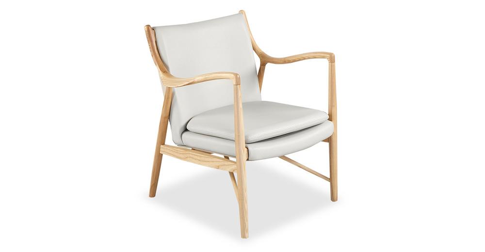 Copenhagen 45 Armchair, White Italian Leather/Natural