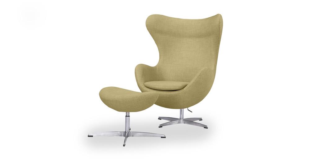 Amoeba Chair & Ottoman, Lemon Grass Twill