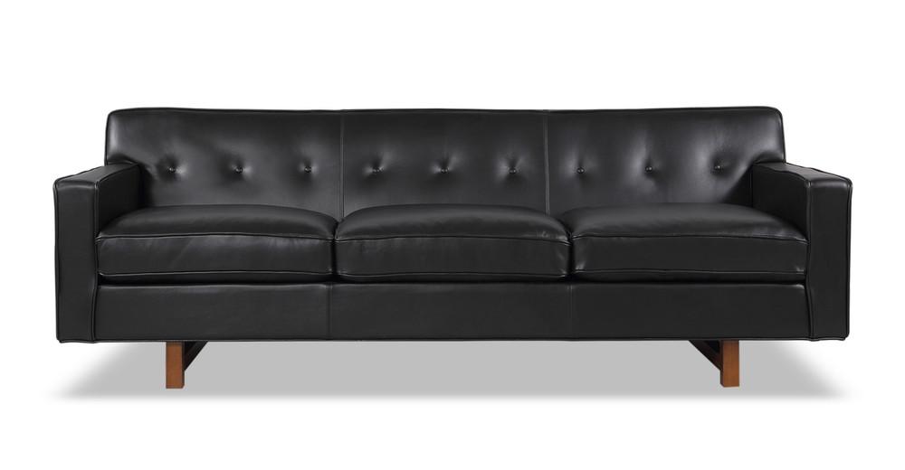 Kennedy Sofa, Black Aniline Leather