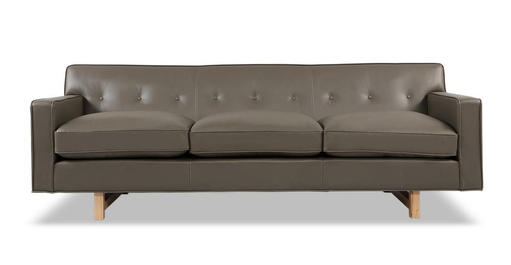 Kennedy Sofa, Grey Aniline Leather