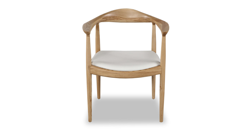 Wegner President Chair, White Leather/Ash