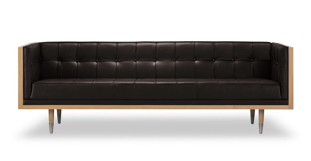 Woodrow Box Sofa, Ash/Brown Aniline