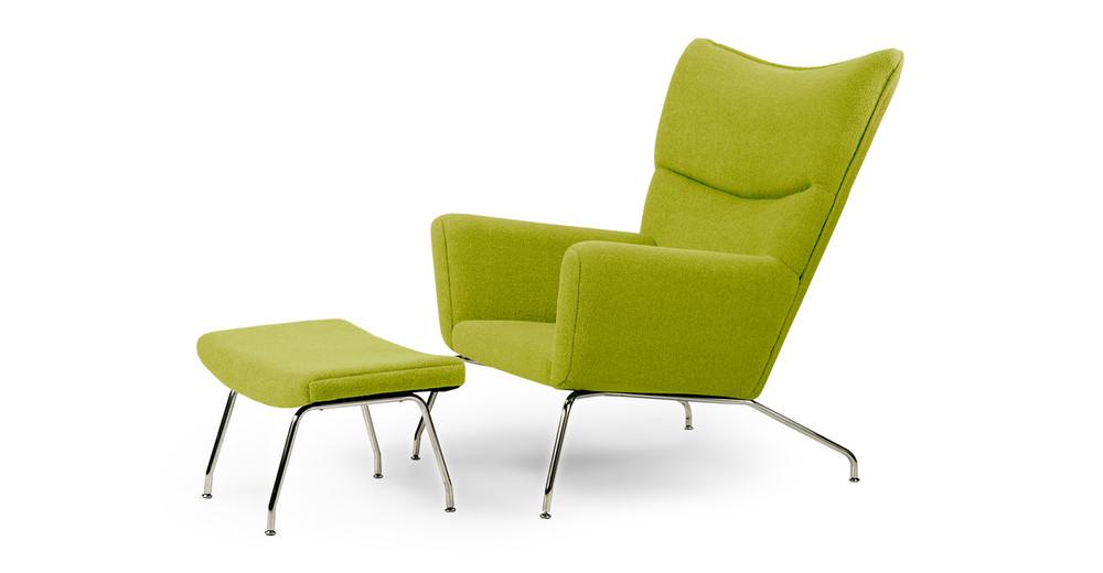 Wegner Wing Chair & Ottoman, Pear