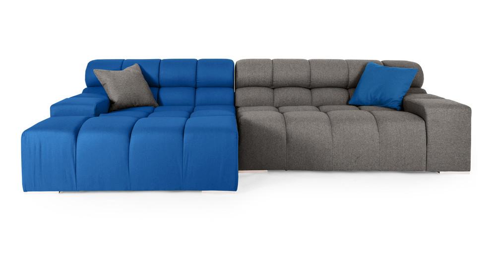 Cubix Sofa Sectional Left, Sapphire/Cadet Grey