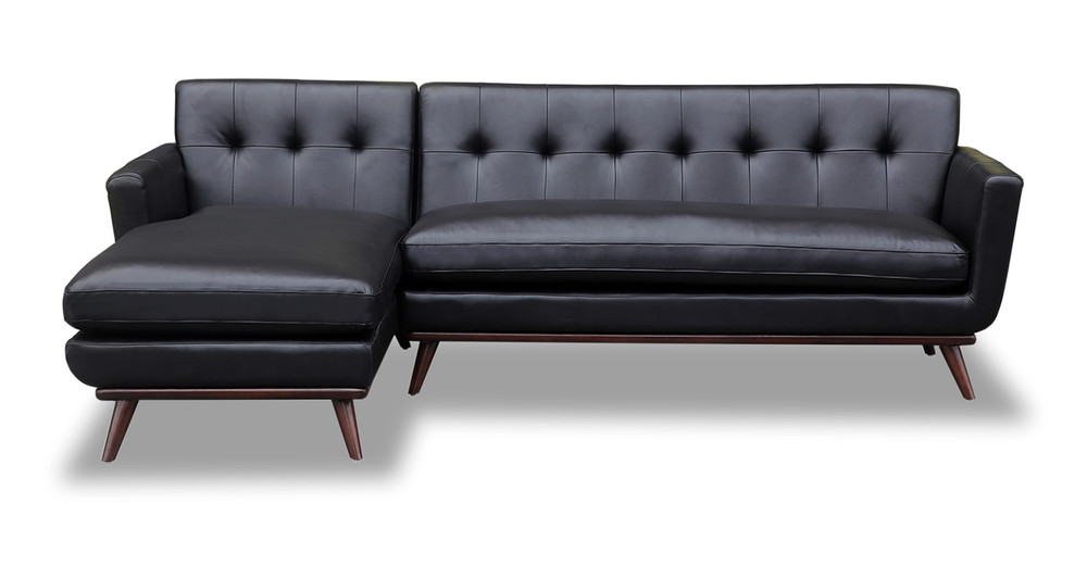 Jackie Sofa Sectional Left, Black Aniline Leather