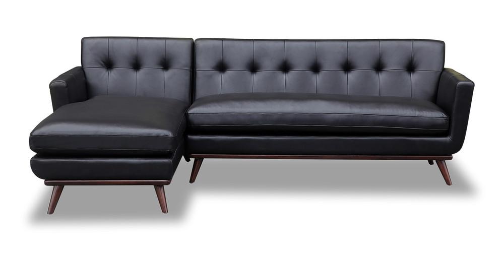Jackie Sofa Sectional Left, Black Aniline Leather