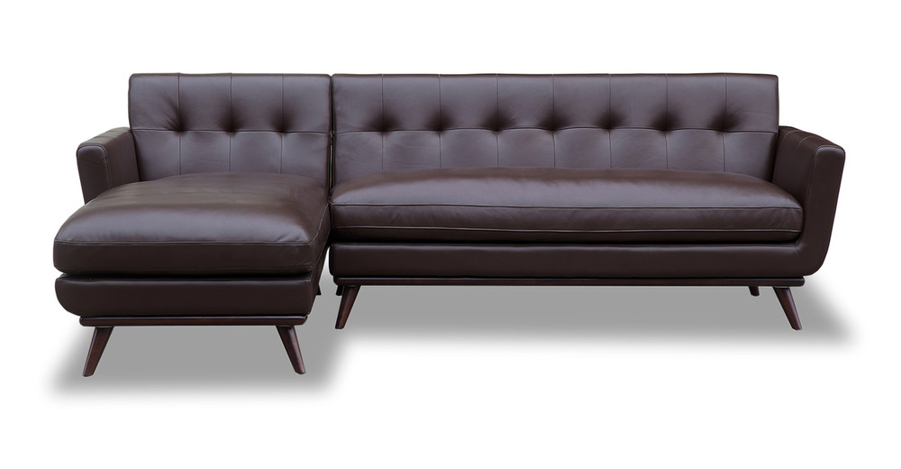 Jackie Sofa Sectional Left, Bolivarian Brown Aniline Leather