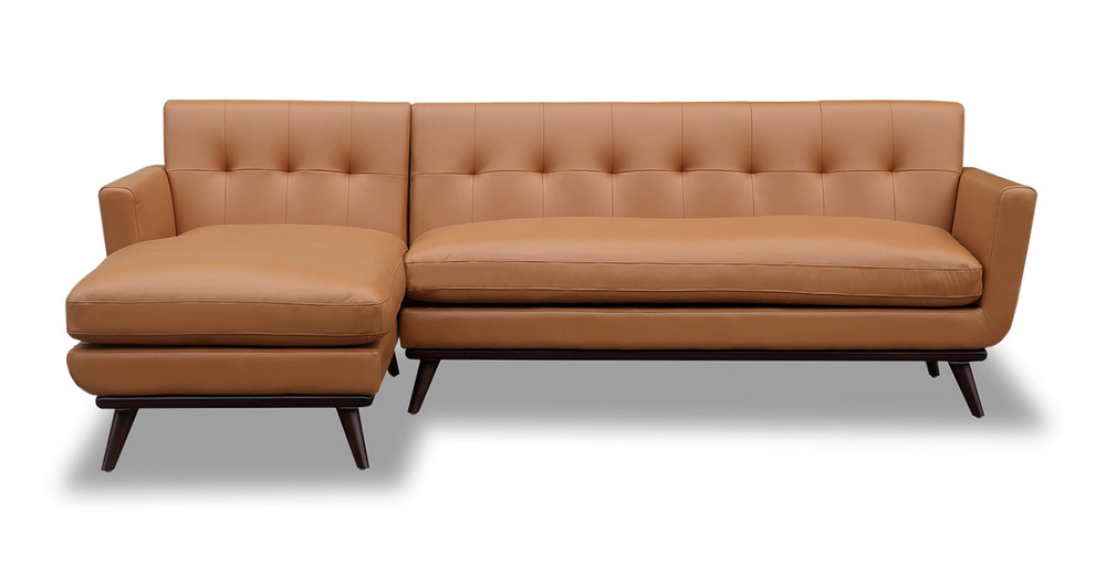 Jackie Sofa Sectional Left, Saddle Aniline Leather