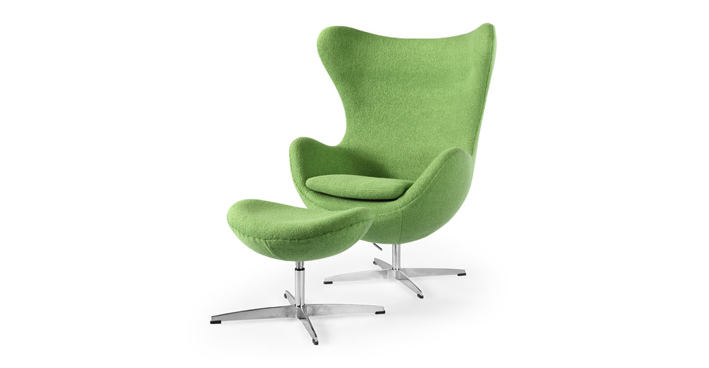 Amoeba Chair & Ottoman, Apple Green