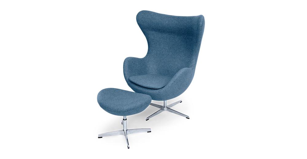Amoeba Chair & Ottoman, Azure
