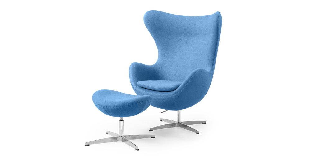 Amoeba Chair & Ottoman, Baby Blue
