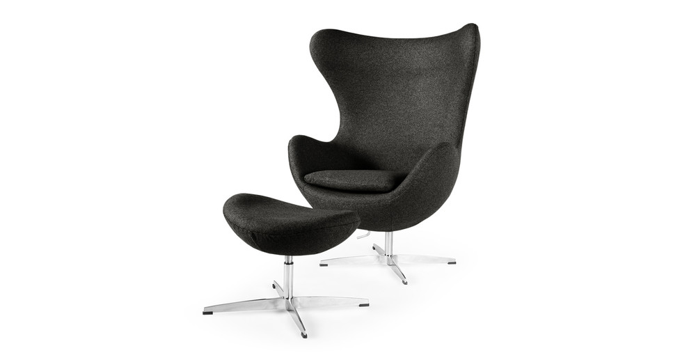 Amoeba Chair & Ottoman, Charcoal
