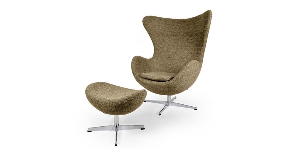 Amoeba Chair & Ottoman, Oatmeal