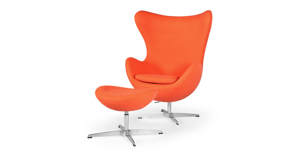 Amoeba Chair & Ottoman, Orange