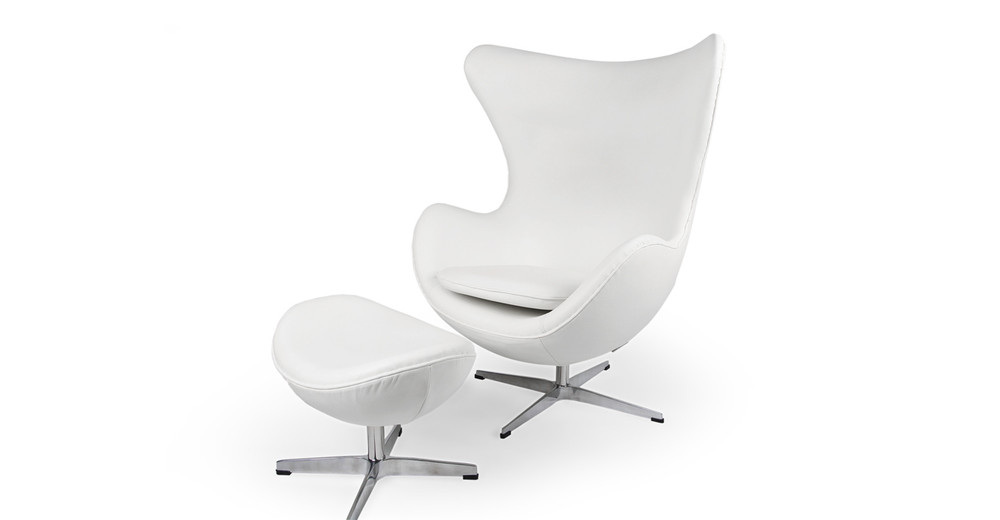 Amoeba Chair & Ottoman, Cream White Premium Leather