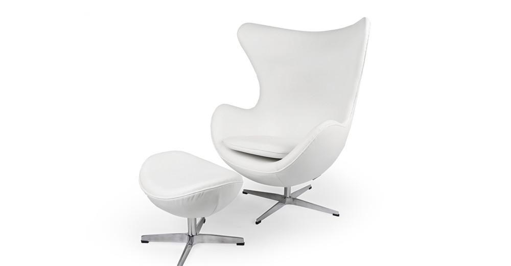 Amoeba Chair Amp Ottoman Ecume White Premium Leather Kardiel
