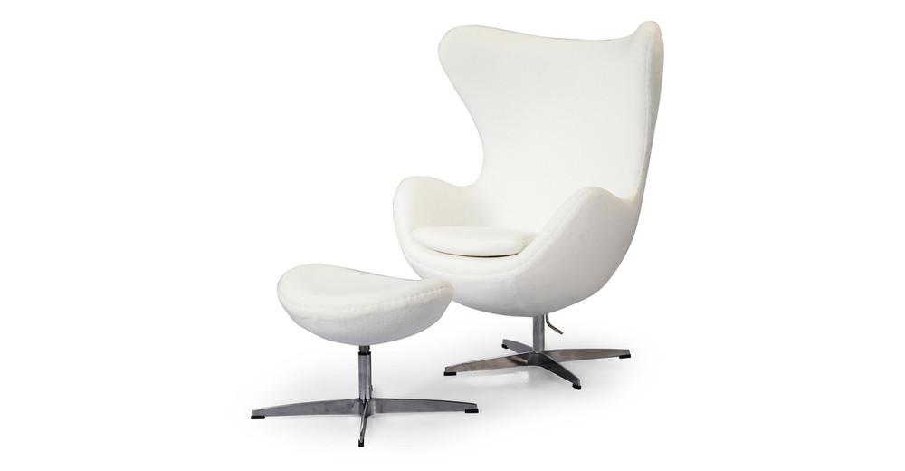 Amoeba Chair & Ottoman, White Cashmere