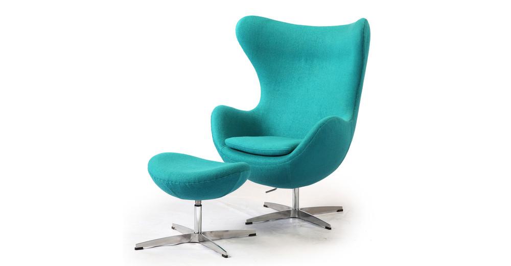 Amoeba Chair & Ottoman, Turquoise