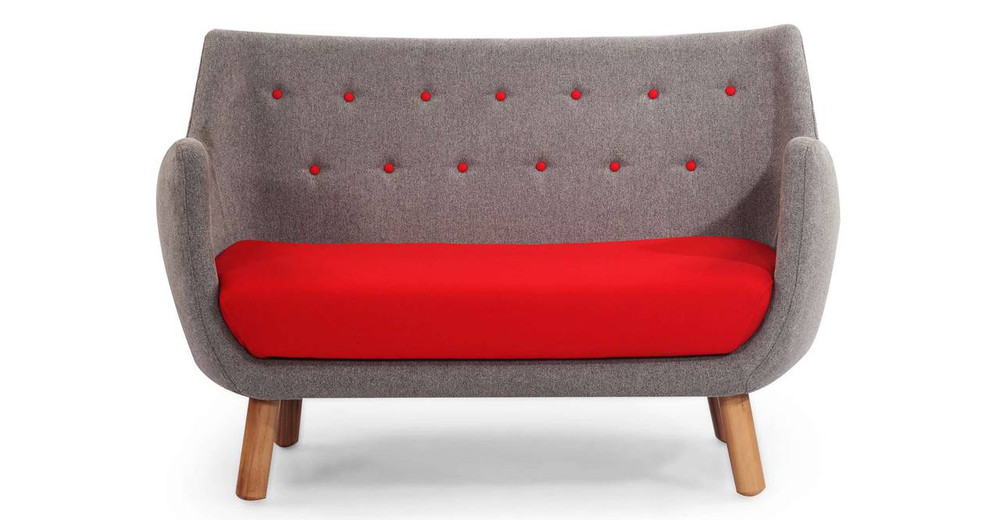 1946 Parlor Sofa, Earl Grey / Red