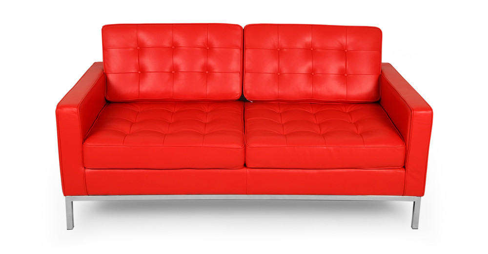 Florence Loveseat,Red Premium Leather