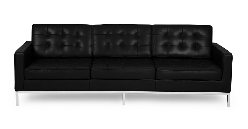 Florence Sofa, Black Premium Leather