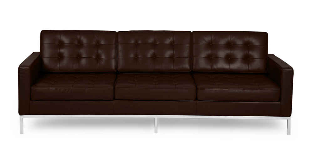Florence Sofa, Choco Brown Premium Leather