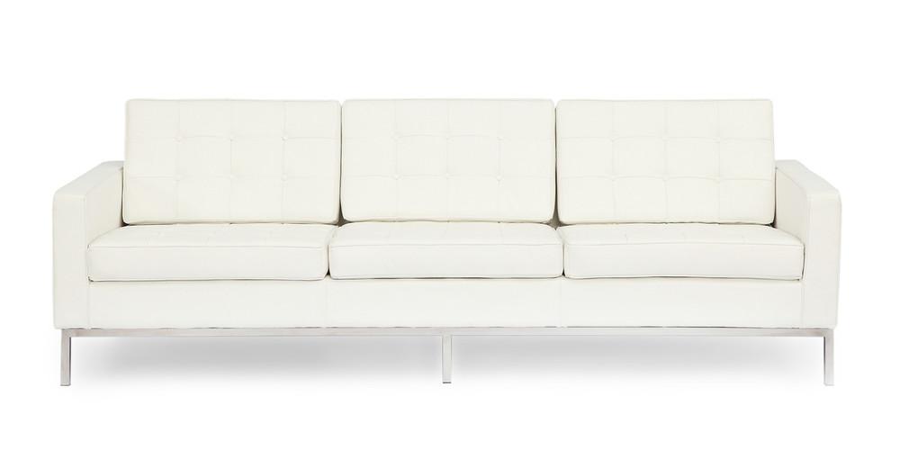Florence Sofa, Cream White Premium Leather