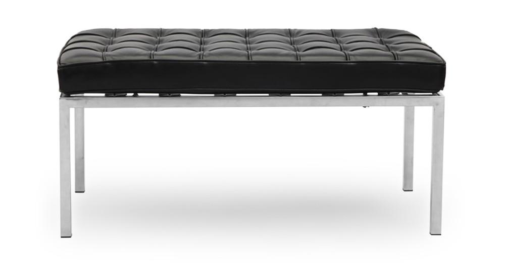 Florence Bench 2 Seat, Black Premium Leather
