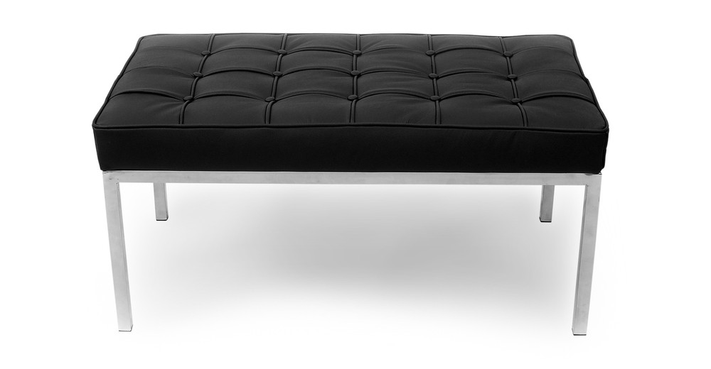 Florence Bench 2 Seat, Black Leather