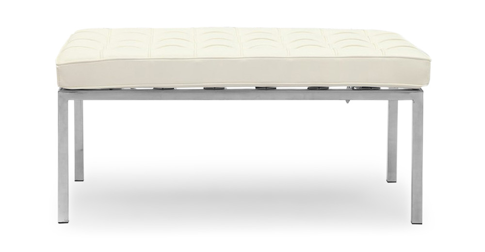 Florence Bench 2 Seat, Cream White Premium Leather