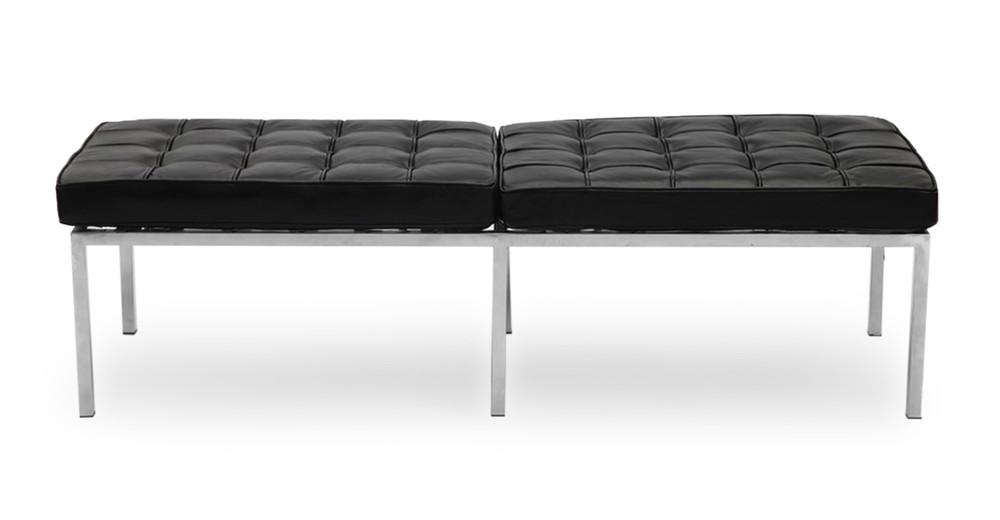 Florence Bench 3 Seat, Black Premium Leather