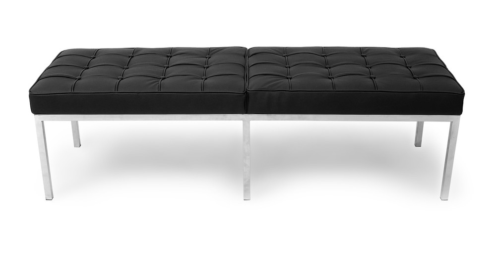 Florence Bench 3 Seat, Black Leather
