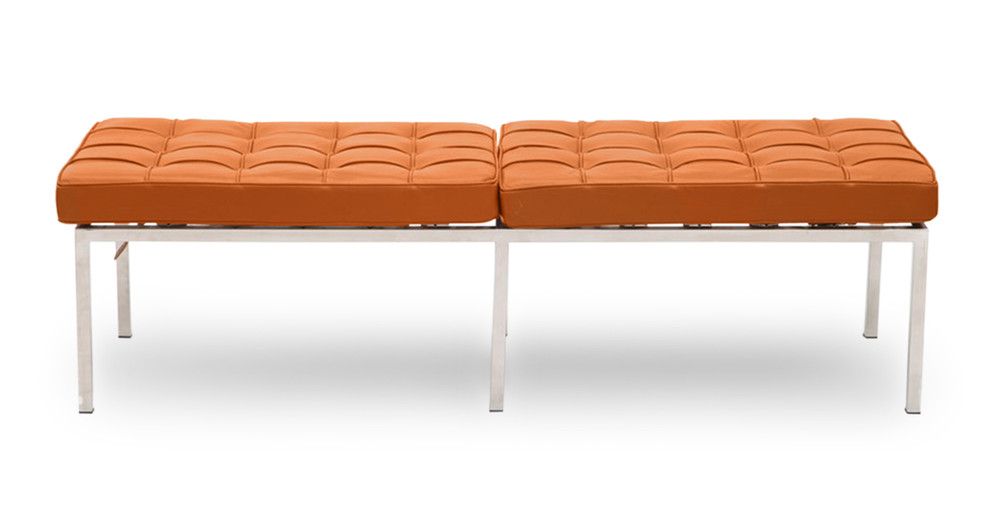 Florence Bench 3 Seat, Caramel Premium Leather