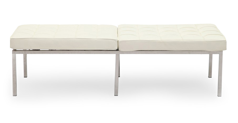 Florence Bench 3 Seat, Cream White Premium Leather