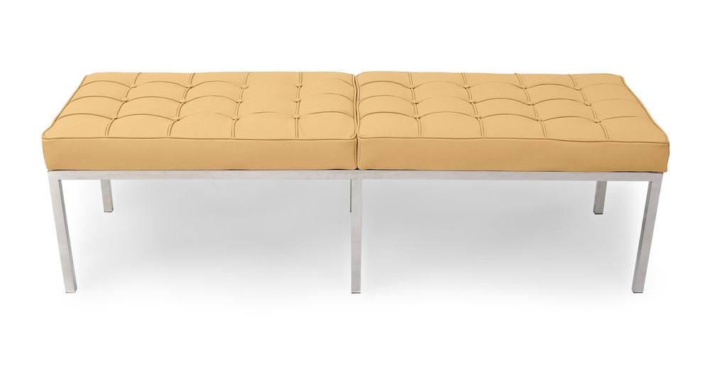 Florence Bench 3 Seat, Oxford Fawn Leather