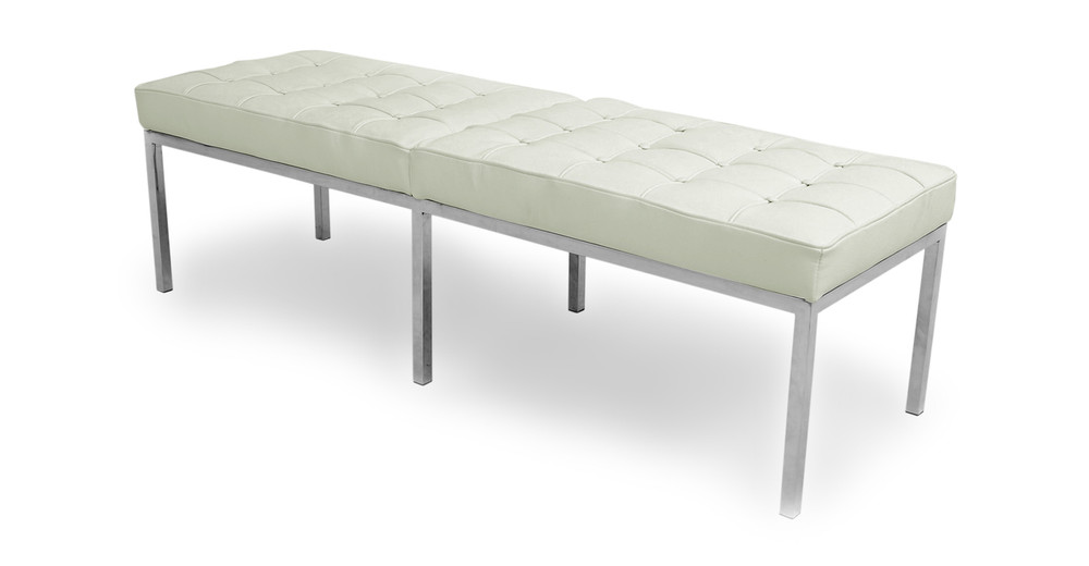 Florence Bench 3 Seat, Akoya White Leather