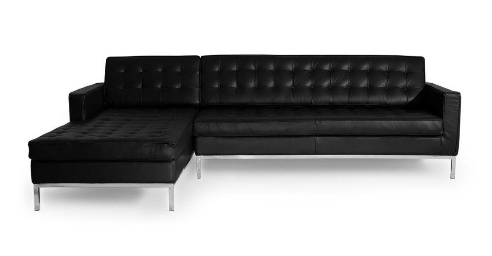 Florence Left Sectional, Black Premium Leather