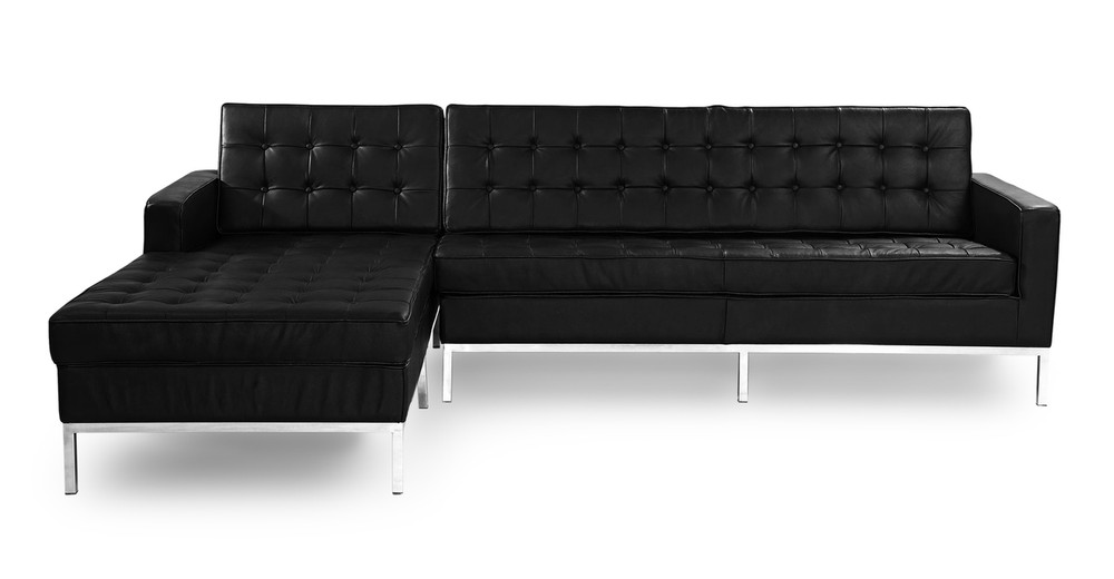 Florence Left Sectional, Black Leather