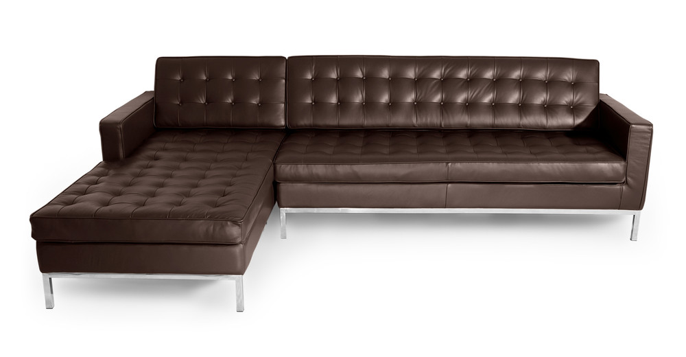 Florence Left Sectional Choco Brown Premium Leather Kardiel