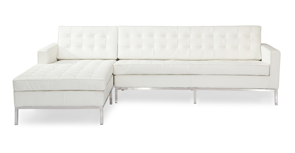 Florence Left Sectional, Cream White Premium Leather