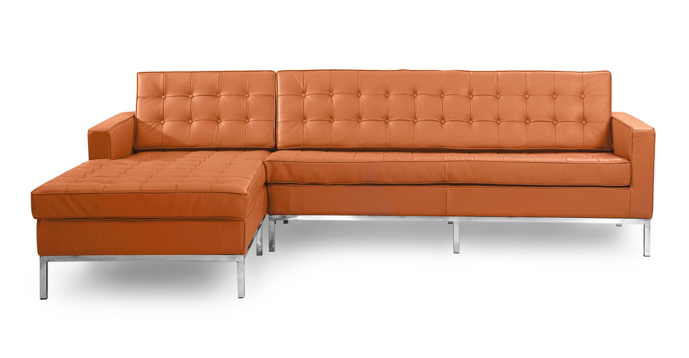 Florence Left Sectional, Luxe Camel Leather