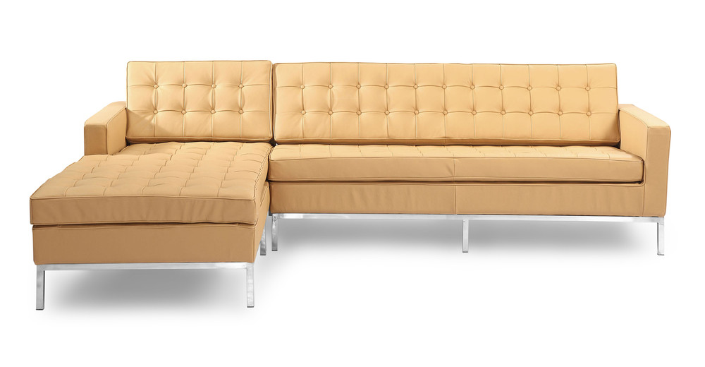 Florence Left Sectional, Oxford Fawn Leather