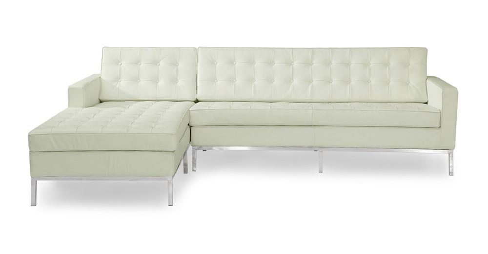 Florence Left Sectional, Akoya White Leather
