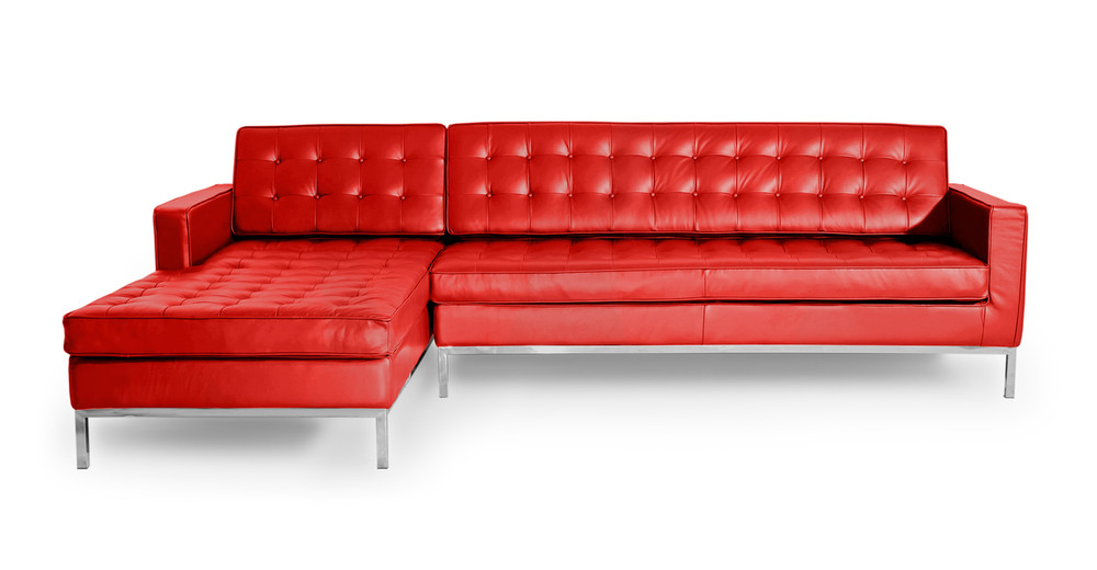 Florence Left Sectional, Red Premium Leather
