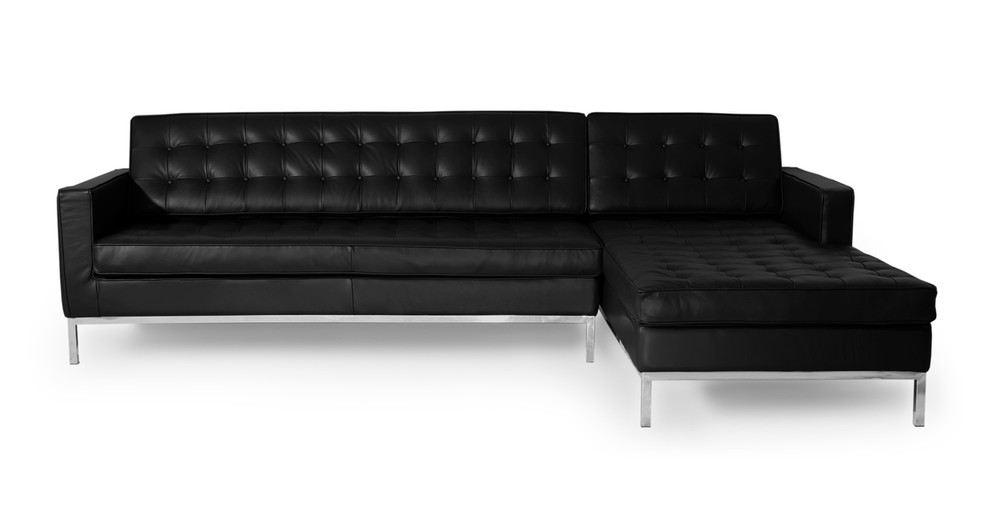 Florence Right Sectional, Black Premium Leather